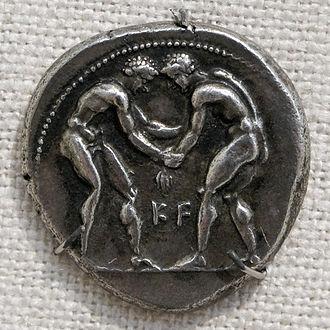 Greek wrestling - Wrestlers on a silver tetradrachm of Aspendos, Pamphilia (400–374 BC)