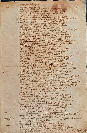 Shakespeare's handwriting - Facsimile of a page written by 'Hand D', in all likelihood written by William Shakespeare