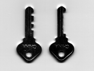 Skeleton key - A padlock skeleton key that can open any lock with this keyhole (right), compared to a normal key that can open only the lock for which it was made (left).