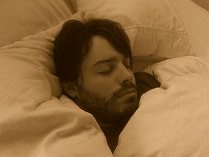 English: Man with beard sleeping.  Why Do We Talk in Our Sleep 300px Sleeping man with beard