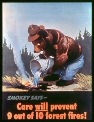 English: Smokey Bear's debut poster, released ...