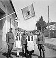 Soldier, flag, medal, crest, folk costume Fortepan 2998.jpg