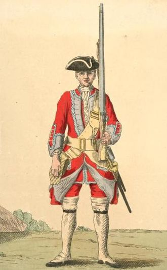 Royal Leicestershire Regiment - Soldier of 17th regiment, 1742