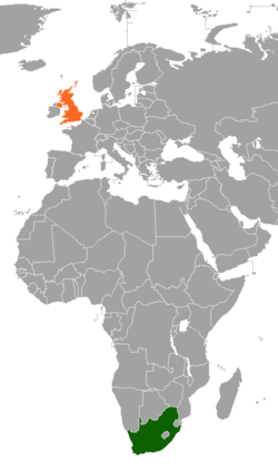 Map indicating locations of South Africa and United Kingdom