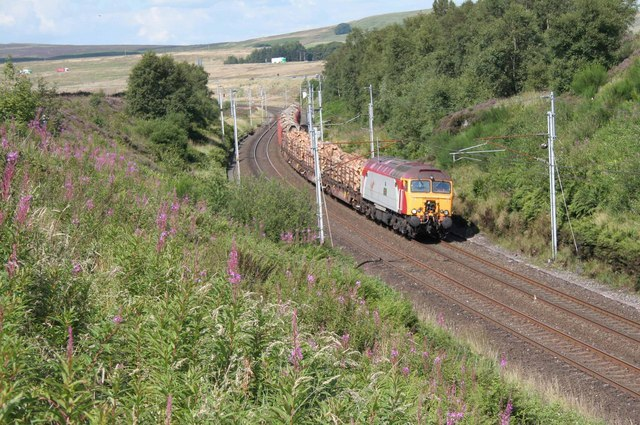 Southbound timber train at Greenholme - geograph.org.uk - 738830