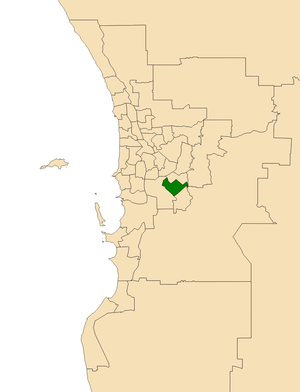 Electoral district of Southern River - Location of Southern River (dark green) in the Perth metropolitan area