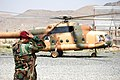 Soviet era helicopter in Afghanistan at Camp Morehead.jpg