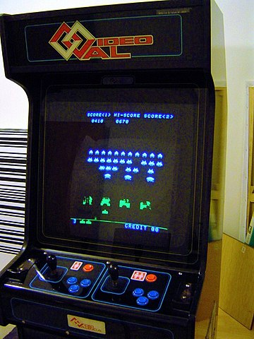 Space Invaders was a popular game during the golden age. The game introduced many elements which would become standard in video games. Space Invader Cabinet.jpg