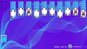 Spider (solitaire) - This is a screenshot of the solitaire game Spider 1 Suit layout.