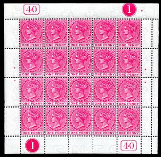 De La Rue - Image: St. Christopher 1884 1 penny stamp sheet