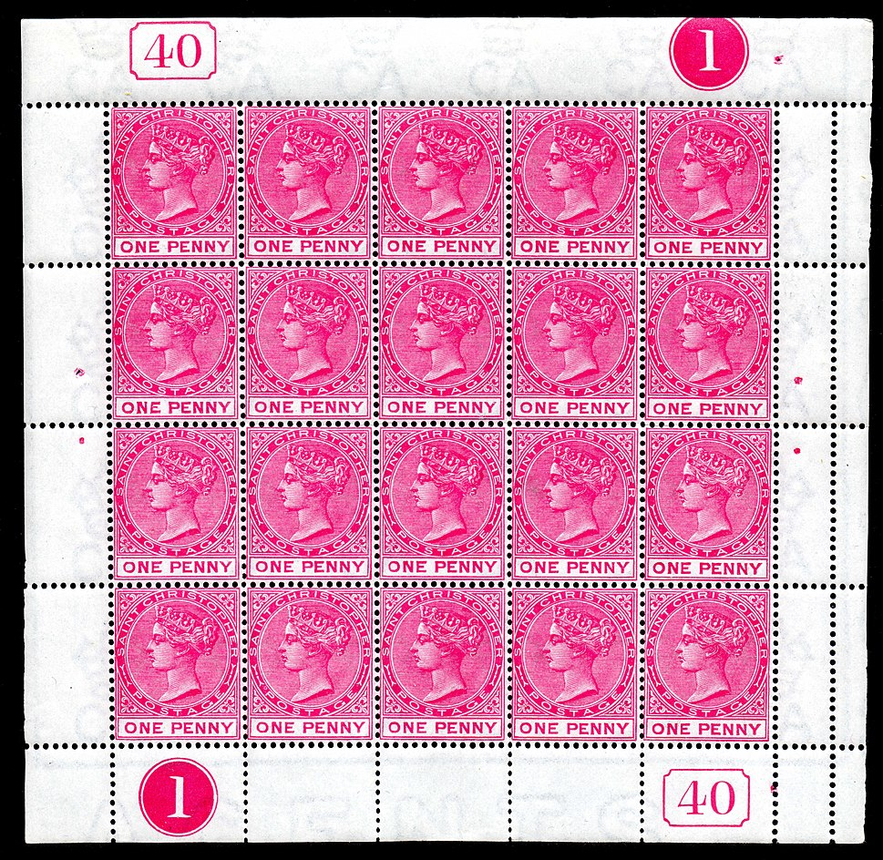 St. Christopher 1884 1 penny stamp sheet