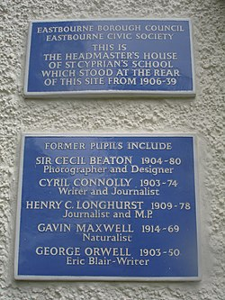 Photo of Cyril Connolly, Cecil Beaton, Gavin Maxwell, and George Orwell blue plaque