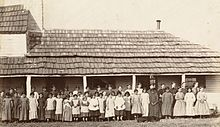 St. Mary's Mission, Kansas, Pottawatamie Indian School, 90 miles west of Missouri River. (Boston Public Library) (cropped).jpg