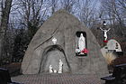 St. Michael Catholic Church (Columbus, Ohio), exterior, Marian grotto & Nativity.jpg