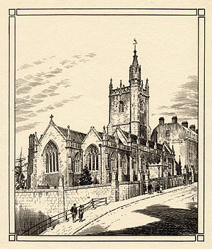 St Augustine the Less Church, Bristol - Plate etching, showing on the left a ship's masts in Bristol Harbour and on the right, housing leading towards College Green and Bristol Cathedral