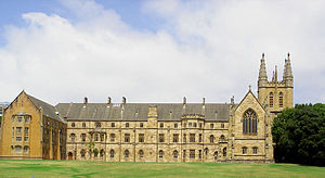 St John's College, University of Sydney - Eastern elevation from St John's oval, showing original building with new additions Menzies Wing (left) and Freehill Tower (right)