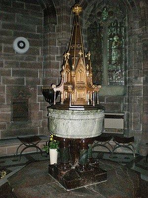 Lancaster Cathedral - Image: St Peter's RC Cathedral , Font geograph.org.uk 1060852