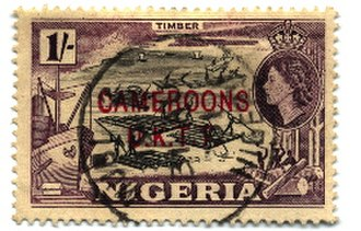 Postage stamps and postal history of the British Cameroons - Image: Stamp Cameroons 1sh 250px