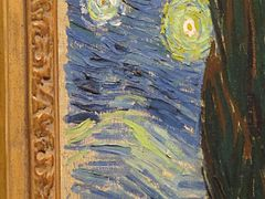 Starry night Van Gogh details left part of canevas