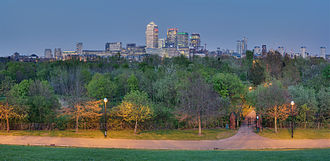 Stave Hill - View from Stave Hill over Canary Wharf at dusk