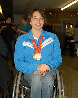 Stephanie Wheeler, 2008 USA Paralympic Gold Medalist in wheelchair basketball Image: alcrews.