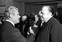 Stevan Kragujevic, Sergei Bondarchuk and Orson Welles, Sarajevo, 29. november 1969. Movie premier Battle of Neretva.JPG