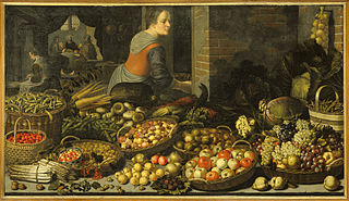 Still life with fruits and vegetables with Christ in Emmaus