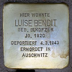 Photo of Luise Bendit brass plaque