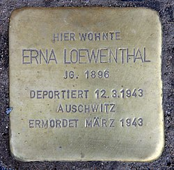 Photo of Erna Loewenthal brass plaque