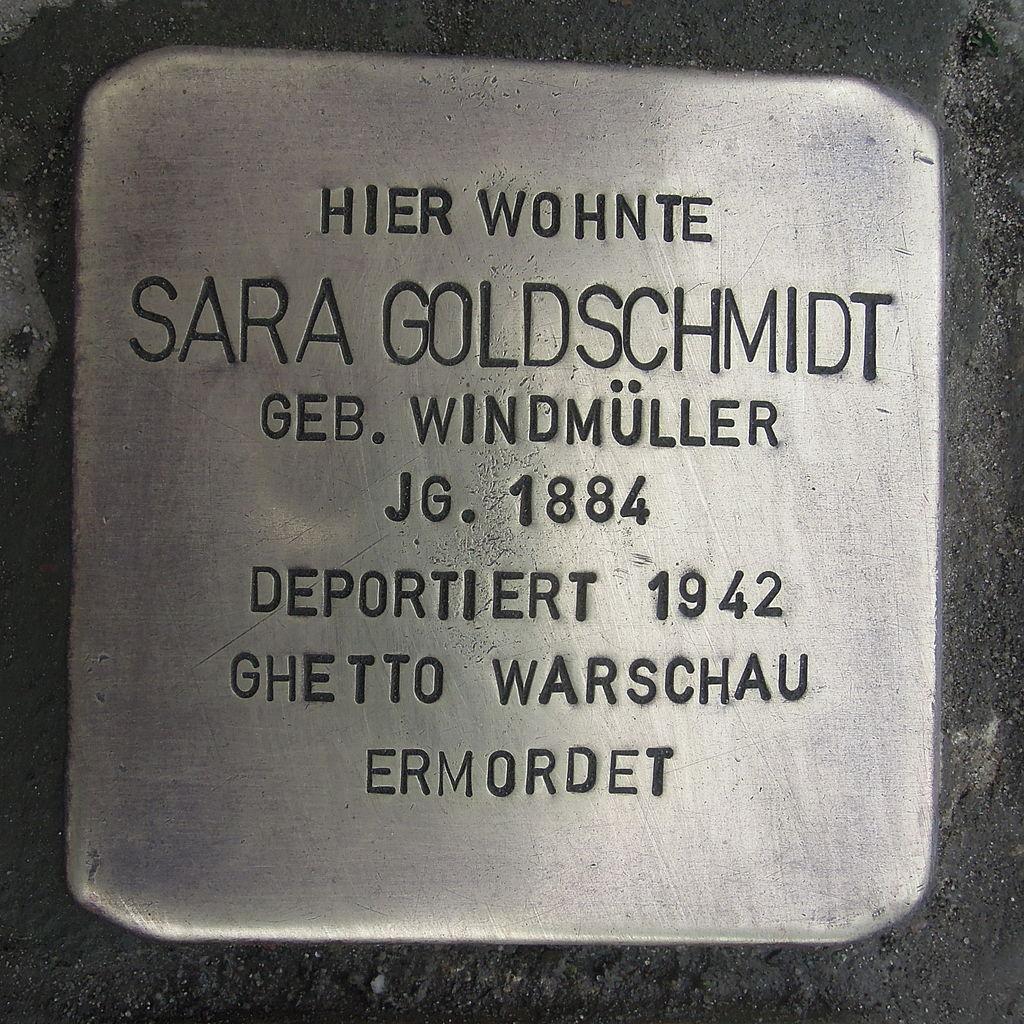 Stolperstein für Sara Goldschmidt geb. Windmüller