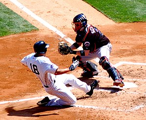 Mets–Yankees rivalry - Subway Series 2008, Johnny Damon with the Yankees (left) and Brian Schneider with the Mets