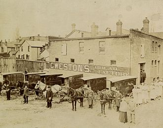 """George Weston - George Weston's first bakery, where he developed his """"Real Home-Made Bread"""", Sullivan Street, Toronto, c. 1895"""