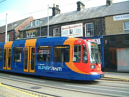 Sheffield Supertram vehicles have orange doors which contrast with the blue bodyside to comply with RVAR.