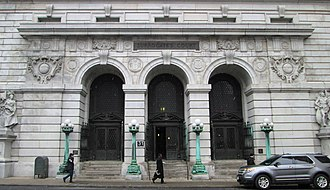 Surrogate's Courthouse - The entrance to the building on Chambers Street