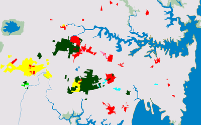 Sydney areas where significant population of Chinese (red), Vietnamese (yellow), Arabic (dark green), Greek (light blue), Turkish (brown), Serbian (light green) and Korean (pink) speakers lived in 2006 Sydney language groups.png