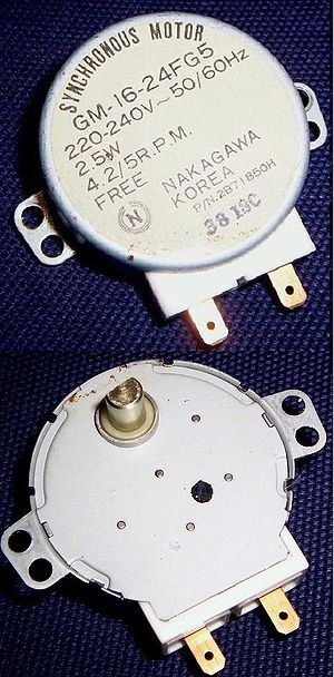 Synchronous motor - Small synchronous motor with integral stepdown gear from a microwave oven