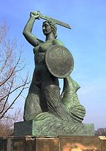 Statue of a melusina in Warsaw.