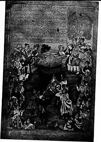 Nala - Damyanti choose Nala in Swayamvara from Akbar Razmnama , Artist -Tara