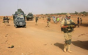 EUFOR Tchad/RCA - Polish troops from the EUFOR contingent on patrol in Chad