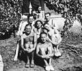 Tableau, men, women, smoking, cigarette, bathing suit, straw hat Fortepan 73447.jpg