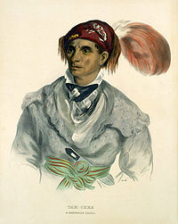 Watercolor portrait of a young Cherokee chief