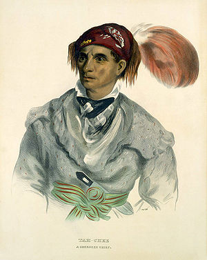 Cherokee history - Tah-Chee (Dutch), A Cherokee Chief, 1837.  Published in History of the Indian Tribes of North America.