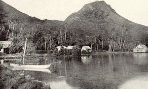 Tahiti - View of Ra'iātea Mountain. The mummies of Tahitian rulers were formerly deposited on this mountain, traditionally considered sacred (tapu).