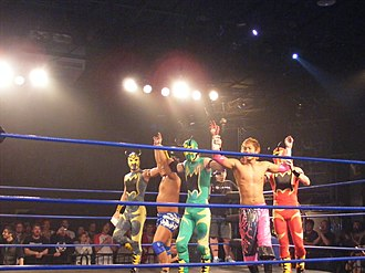 Atsushi Kotoge - Kotoge and Harada posing with The Colony, after their match in the 2010 King of Trios