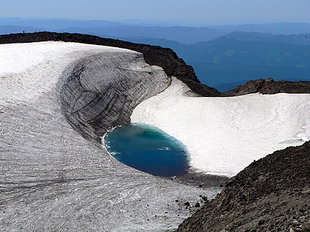 Teardrop Pool on South Sister is the highest lake in Oregon. Teardrop Lake South Sister Oregon.jpg