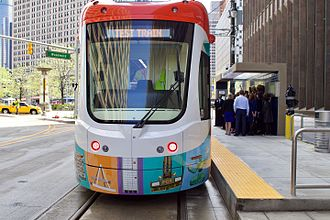 QLine - Test train at Campus Martius station in May 2017