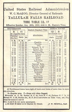Tallulah Falls Railway - 1918 timetable depicting all scheduled stops along the Tallulah Falls Railway