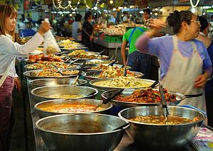 Take-out - A market stall in Thailand selling take-out food