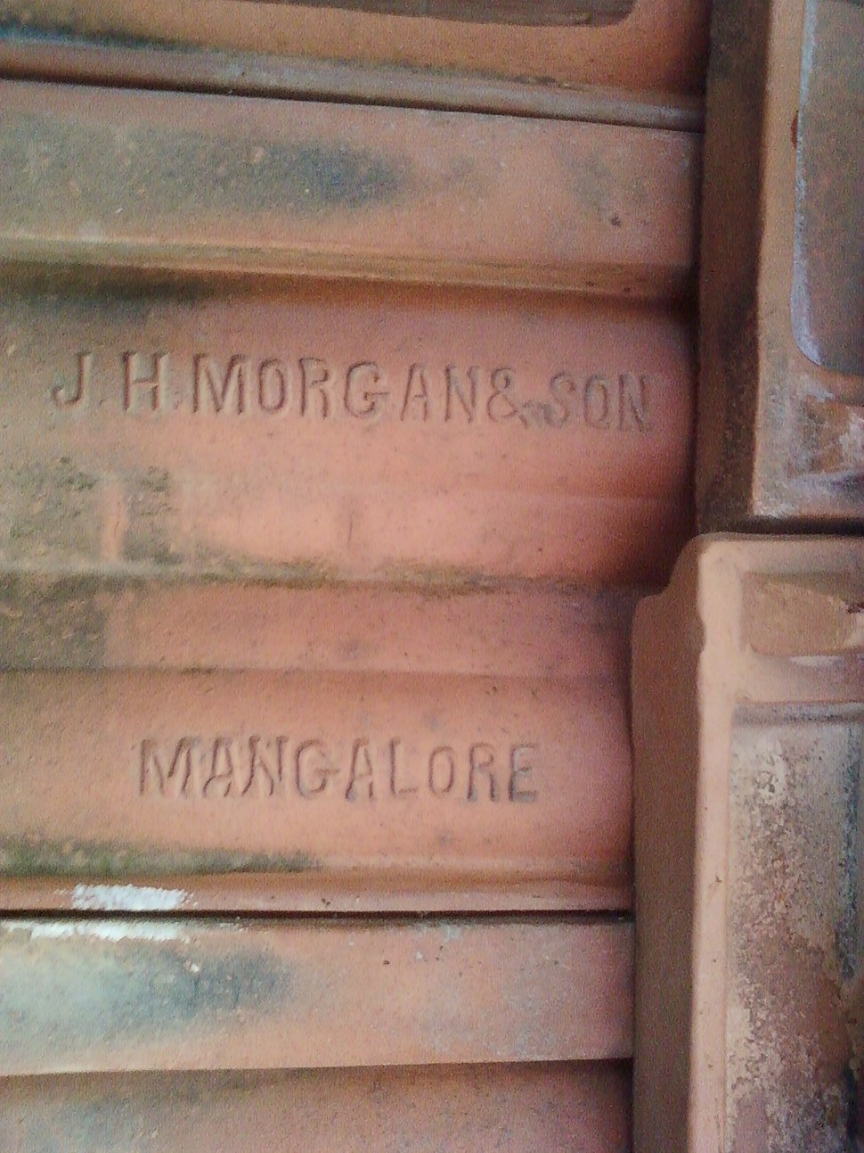 Thayyil Tharavadu roof tile manufactured by J. H. Morgan %26 Sons Mangalore 1868