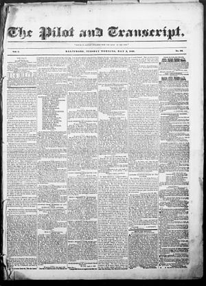 Pilot and Transcript - The front page of The Pilot and Transcript, May 5, 1840